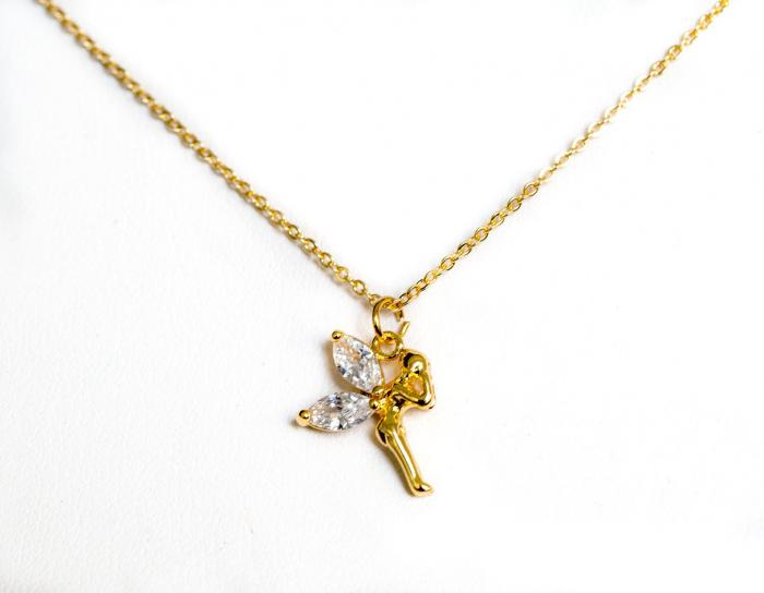 Colier stralucitor cu pandant zana, placat cu aur, cu cristale Cubic Zirconia [1]