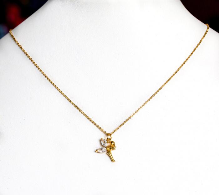 Colier stralucitor cu pandant zana, placat cu aur, cu cristale Cubic Zirconia [3]