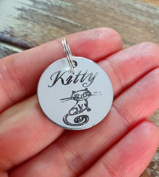 Medalion personalizat cu nume pentru pisicuta, id tag rotund pentru animale de companie, gravat pe banut din aluminiu [2]