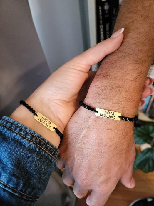 Set de 2 bratari personalizate pentru cuplu, cu iitiale, data si margele din cristal [1]