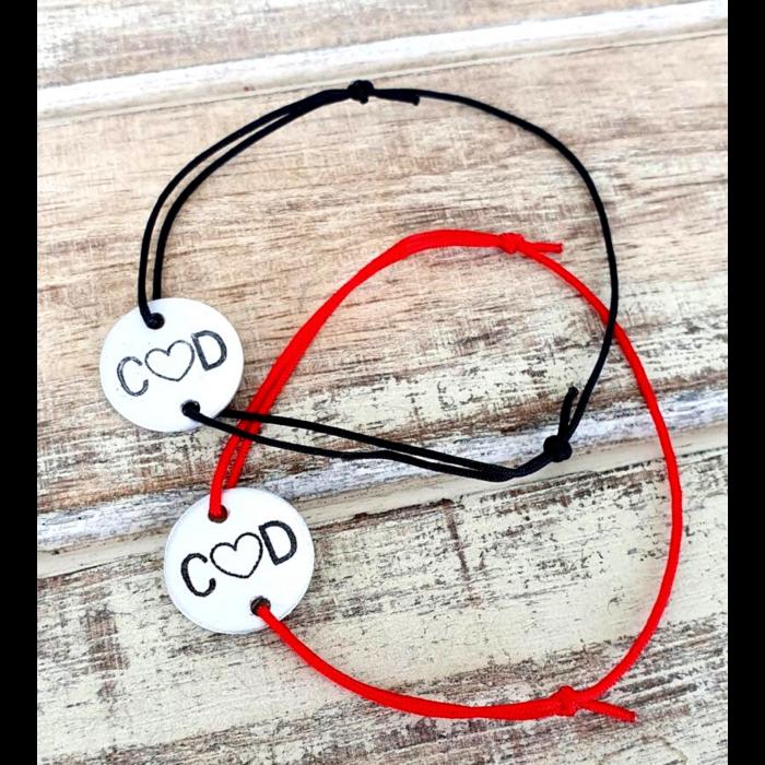 Set de 2 bratari personalizate pentru cuplu, cu banut gravat cu initiale si inimioara [0]