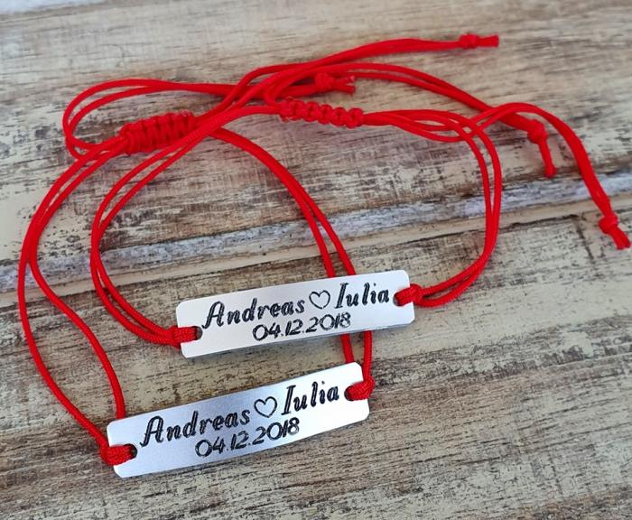 Set de 2 bratari personalizate pentru cuplu cu nume si data, gravate pe placuta din aluminiu cu snur ajustabil si inchidere macrame [5]