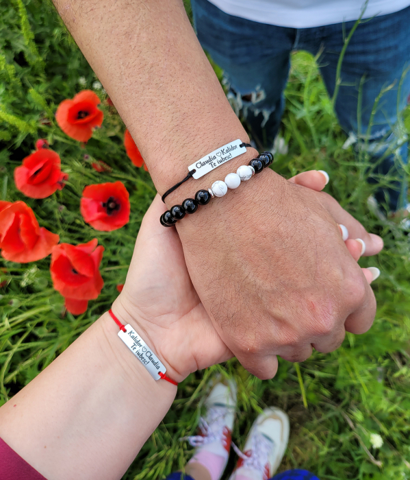 Bratari personalizate pentru cuplu cu nume si te iubesc, gravate pe placuta din aluminiu, ajustabile [4]