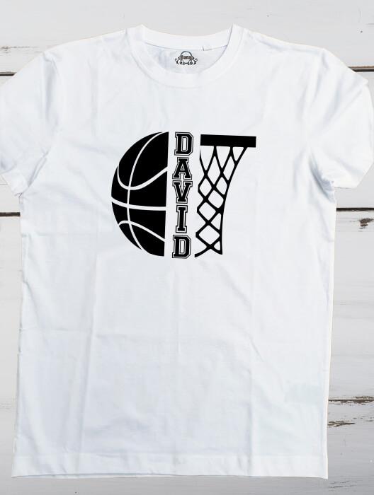 Tricou personalizat pentru copii, pentru pasionatii de baschet, cu nume si minge de baschet [5]