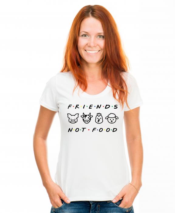 Tricou alb, personalizat Friends not Food, pentru vegani, vegetarieni [0]