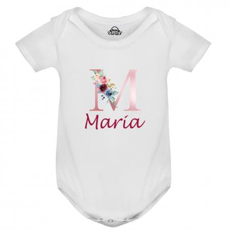 Body bebe personalizat din bumbac, cu initiala cu flori si numele fetitei [1]