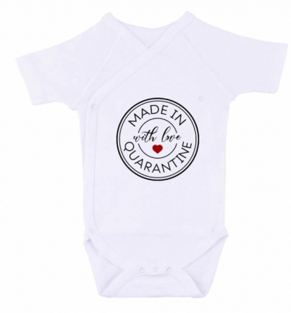 Body bebe personalizat din bumbac, cu mesajul Made with love in quarantine, cadou pentru nou nascuti [1]