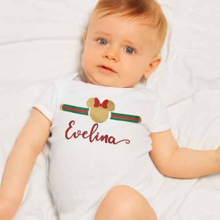 Body bebe personalizat din bumbac cu nume rosu sclipicios [0]