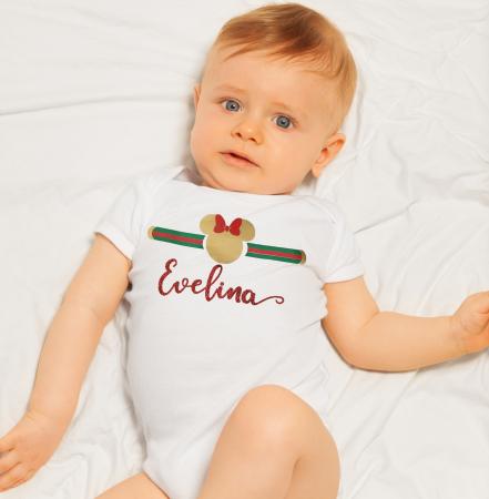 Body bebe personalizat din bumbac cu nume rosu sclipicios [2]