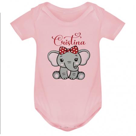 Body bebe personalizat din bumbac, pentru fetita cu elefantel si nume [2]