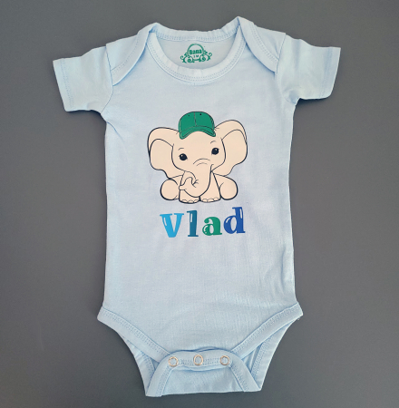 Body bebe personalizat din bumbac, pentru baietel, cu nume si elefant [1]