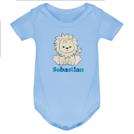 Body bebe personalizat din bumbac, pentru baietel, cu nume si leu [1]