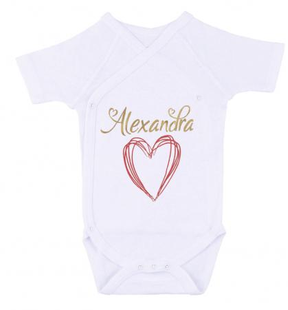 Body bebe personalizat din bumbac, pentru fetita cu nume si inima, cadou pentru nou nascut [0]
