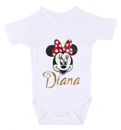 Body bebe personalizat din bumbac, pentru fetita cu nume si Minnie, cadou pentru nou nascuti [0]