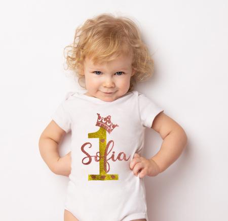 Body bebe personalizat din bumbac, cu design stralucitor, coronita si numele fetitei [0]