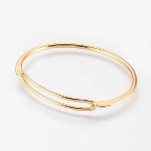 Bratara bangle placata cu aur, fixa, personalizata, cu 2 inimioare gravate cu o initiala [3]