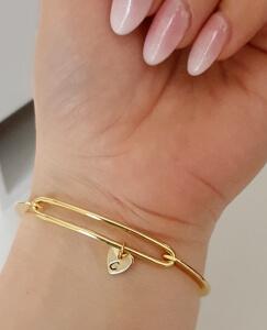 Bratara bangle placata cu aur, fixa, personalizata, cu 2 inimioare gravate cu o initiala si perla Swarovski [7]
