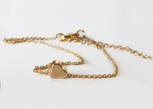 Bratara cu inimioara si lant fin, placata cu aur [3]