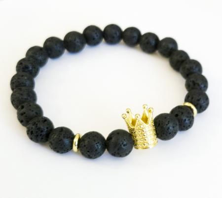 Bratara King Crown, cu lava, pietre semipretioase pentru barbati [2]