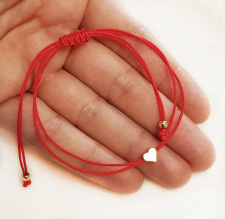 Bratara inimioara placata cu aur cu snur ajustabil cu inchidere macrame. [2]