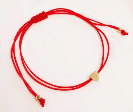 Bratara inimioara placata cu aur cu snur ajustabil cu inchidere macrame. [5]