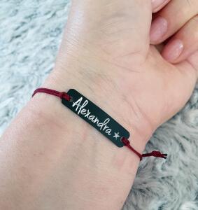 Bratara Jeunesse personalizata, cu nume gravat pe placuta din alama neagra, cu snur special si ajustabil, potrivite pentru cupluri [3]
