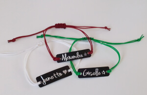 Bratara Jeunesse personalizata, cu nume gravat pe placuta din alama neagra, cu snur special si ajustabil, potrivite pentru cupluri [4]