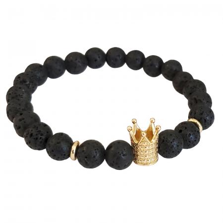 Bratara King Crown, cu lava, pietre semipretioase pentru barbati [0]