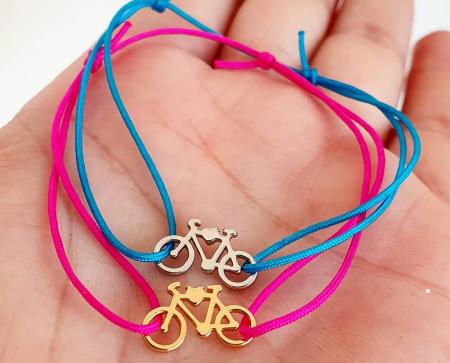 Bratara magica cu charm bicicleta, placat cu aur sau cu argint, cu snur ajustabil [4]