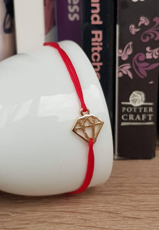 Bratara magica cu diamant placat cu aur, bratara norocoasa, cu snur ajustabil [0]