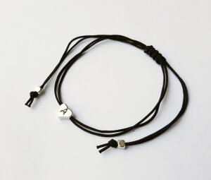 Bratara personalizat cu inimioara placata cu platina, cu snur ajutabil, potrivita pentru cupluri sau BFF [1]
