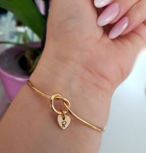 Bratara personalizata, bangle, placata cu aur, cu inimoara gravata cu initiala [5]