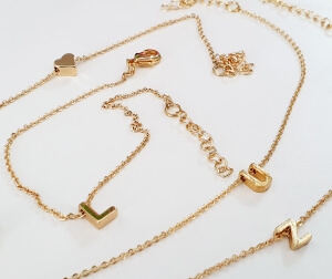 Bratara personalizata cu initiala, placata cu aur [9]
