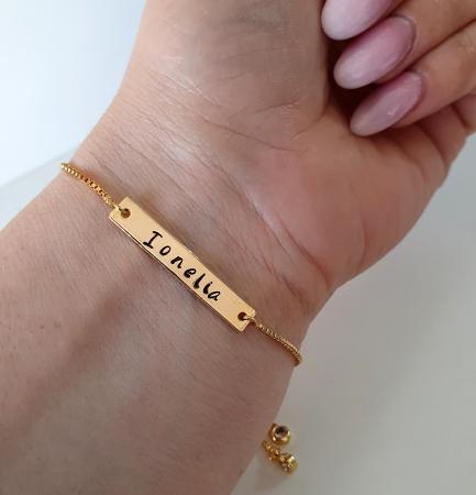 Bratara placata cu aur, personalizata cu nume, cu inchidere reglabila tip slider [5]