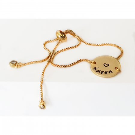 Bratara personalizata, placata cu aur, gravata cu nume pe banut, cu inchidere reglabila [0]
