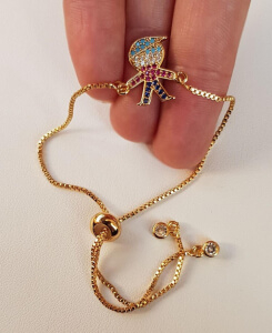 Bratara placata cu aur, cu fetita sau baiat, cu cristale Cubic Zirconia, cu inchidere speciala, ajustabila [4]