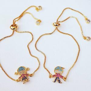 Bratara placata cu aur, cu fetita sau baiat, cu cristale Cubic Zirconia, cu inchidere speciala, ajustabila [1]
