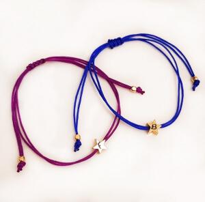 Bratara steluta gravata, personalizata, placata cu aur, bratara cu initiala, cu snur ajustabil [1]