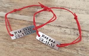 Bratari pentru cuplu, personalizate cu Her one, His only si data, cu snur din bumbac, ajustabil6