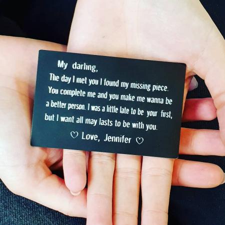 Card metalic personalizat, cu mesaj gravat pe placuta de aluminiu, insertie portofel [0]