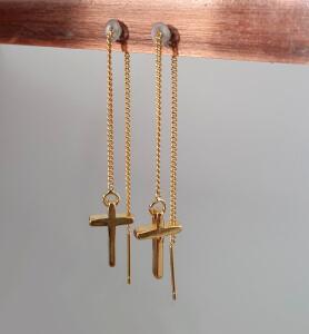 Cercei cu cruciulita placati cu aur [2]