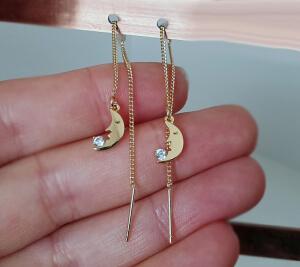 Cercei lungi, placati cu aur, ear threads cu semiluna si cristal Cubic Zirconia [0]