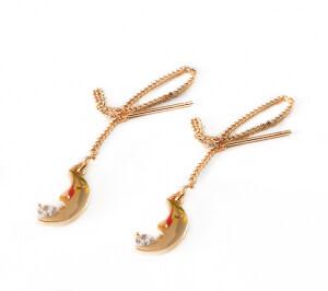 Cercei lungi, placati cu aur, ear threads cu semiluna si cristal Cubic Zirconia [1]