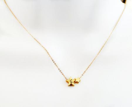 Colier cu doua stelute, placat cu aur, colier minimalist [3]