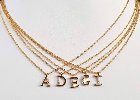 Colier cu initiala, placate cu aur, cu cristale Cubic Zirconia [6]
