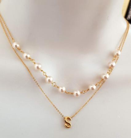 Colier cu perle albe Swarovski, placat cu aur, la baza gatului [2]