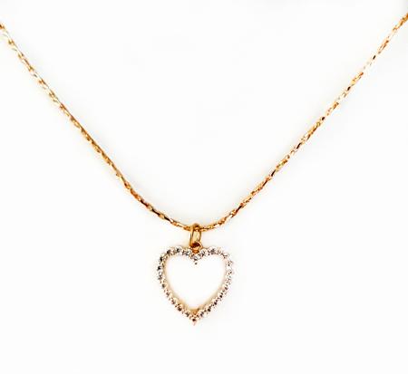 Colier inimioara cu cristale Cubic Zirconia, placat cu aur [2]
