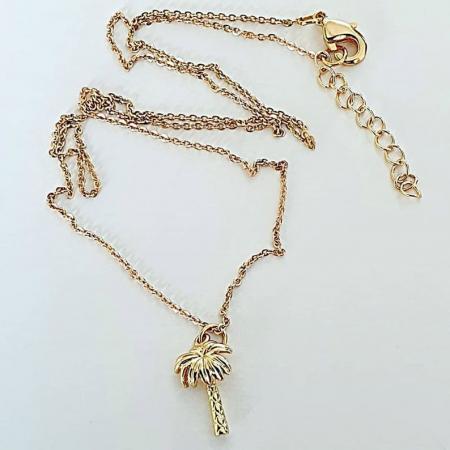 Colier minimalist, placat cu aur, cu pandant palmier [1]