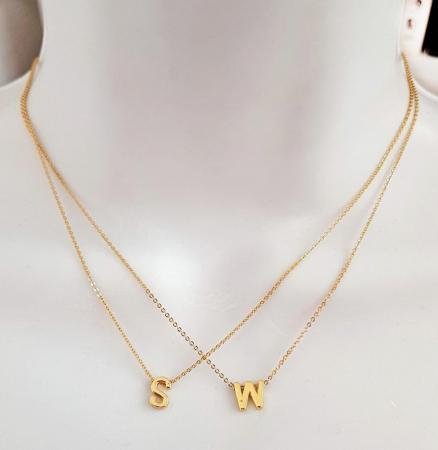 Colier personalizat cu initiala, placat cu aur [1]