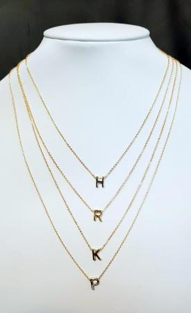 Colier personalizat cu initiala, placat cu aur [5]
